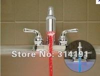 free shipping 10pcs/lot Water Glow LED Faucet Light Temperature Sensor #9907