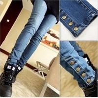 Size 26--31 Fashion 2013 denim pants trousers button decoration slim skinny jeans Free Shipping