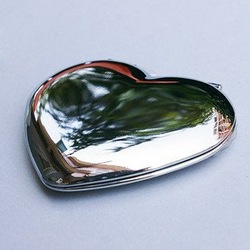 65mm*60mm heart Stainless Steel double sided cosmetic mirror with 10 pcs/lot DIY Accessories with free shipping(China (Mainland))