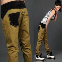 2012 patchwork jeans female mm pants denim harem pants loose harem pants trousers