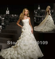 Free Shipping Hot-sale Custom made MD-2 High Quality Ruffled Organza  Strapless Wedding Dress