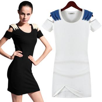 2012 summer fashion  Europe style wind summer skirt short-sleeve patchwork strapless slim dress