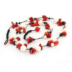 FREE SHHIPPING ! new design crystal coral pearl garnet semi precious stone jewelry, handcrafted jewelry necklace, 20 pcs/lot(China (Mainland))