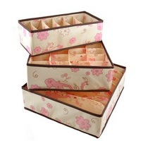 2013 Foldable box Bamboo Charcoal fibre Storage Box for bra underwear necktie socks 3pcs/set  Free shipping
