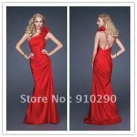 Custom Made 2012 Taffeta Red Elegant One Shoulder Gown Teen Prom Dresses