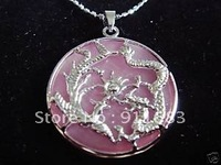 Pink jasper carves Longfeng necklace Free shipping