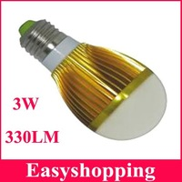 High quality 6pcs/lot 3*1W led bubble ball bulb AC85-220V 3w 330LM E27 led bulb lamp light free shipping