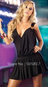 Free Shipping black Sexy Lingerie Fashion Leisure DEEP V dress charming clubwear backless teddy nightwear MOQ 1 Piece MN33