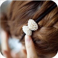 Retro Simple Cute Pearl Bowknot Hairbands Hair Accessories For Women 2pcs/Lot  Z-F5002 Free shipping