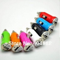 1000pcs Mini Colorful Car Charger Adapter for Ipod for Iphone 4G 3GS 3G 2G Cell Phone Mp3 Mp4 Mp5