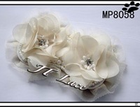 Off white  handmade pearl chiffon flower with beads rhinestone for hair ornament 24PCS 2 colors free shipping