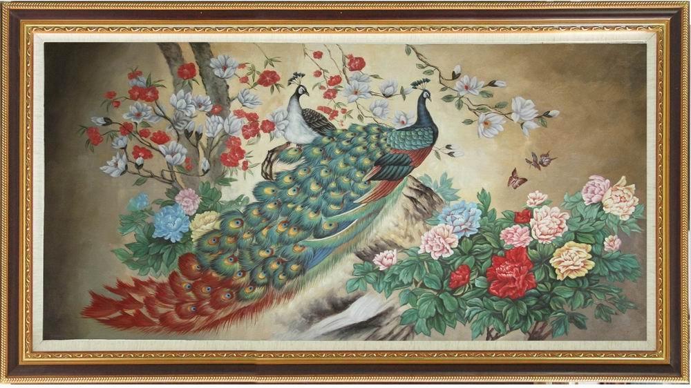 transporte livre! Pintura a óleo moderna do pavão da alta qualidade na lona