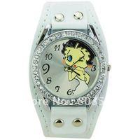 Sample PU Leather Band Cartoon Pattern Rhinestones Round Dial Quartz Movement Watch for Women Wrist watches- White