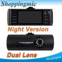 "2012 New HD Dual Lens dash board camera night vision car dvr black box video recorder 2.7"" Free Shipping"