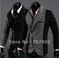 Promotions!Free shipping High fashion Men's Jacket/ Men's coat Korean style jacket/ coat /silm winter suits grey/black FMJ0515-1