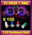 ON SALE! 100 X T5 5050 1 SMD 74  Led bulb Wedge Base for Dashboards Gauge bulbs -mixed colors