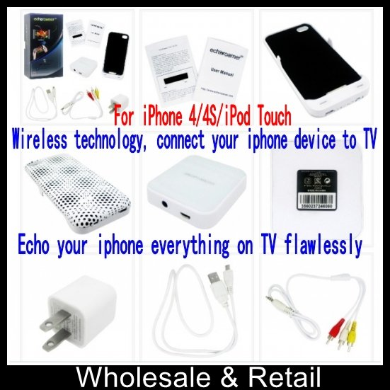 Wireless technology, connect your phone device to TV, Play Video, Music, Game and surf Internet, For iPhone 4/4S/iPod Touch(China (Mainland))