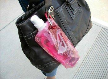 FreeShipping Foldable mountain climbing Portable water bag/jug/bottle with Carabiner holder,Folding Reusable Water Bag