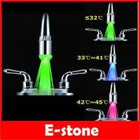 D19+Temperature Sensor 3 Color Change RGB LED Light Water Tap Faucet Glow Shower A2