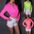 Wholesale Free shipping Neon3 Candy colors sexy fluorescent color Shirts turn-down collar long-sleeve shirt  Soild Shirts 201612