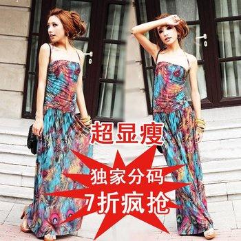 2012 summer fashion thin phoenix bohemia formal dress one-piece dress beach dress TBDA006