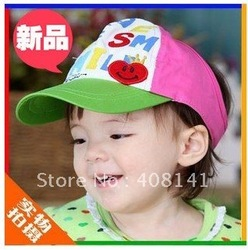 Children smile half empty hat baby spell color empty hat(China (Mainland))