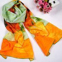 "100% Silk Scarf Oil Painting Van Gogh's ""Sunflower"" Art Scarf Oblong Scarfs Shawl Wraps Fashion Women's Accessories"