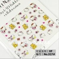 3D Nail Art Sticker 24 styles/Set Cute Hello Kitty Pattern Sticker decorate nailfinger / fakenail Design 240pcs/Lot Freeshipping