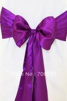 Free shipping -  purple satin chair cover sash /satin sash