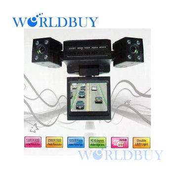 High Quality Mini Dual Rotatable Lens Vehicle Camera Car Black Box DVR Dashboard Free Shipping UPS DHL HKPAM CPAM