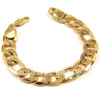 12mm 8inch wholesale price  24K Gold Plated Fashion and Classic Cool Flat Curb Man's Bracelet