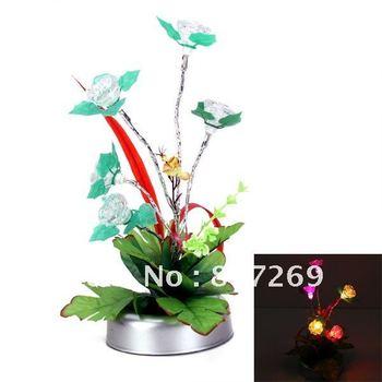 Best wholesale Price!  LED Artificial Rose Bonsai Multi-Colored Flashing Light Lamp