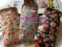 New arrival tiny rose cotton glasses bags,black pink blue coin bags/purses,24pcs,16*9.5cm Freeshipping