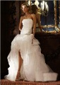 2012 Beach Ball Gown Strapless High-Low Beaded Flower Organza and Tulle Wedding Dress SPK470