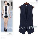 Long a button white black navy blue suit vest