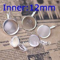 200pcs 12mm 925 Sterling Silver Plated Earring studs Hooks Cameo,Brass stud earrings accessories,earrings base setting Blank