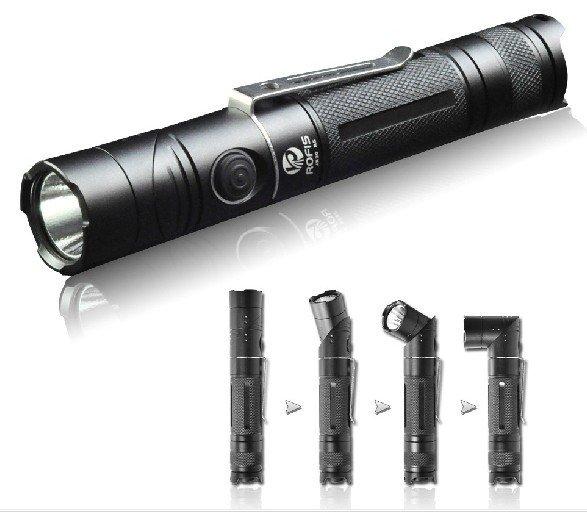 Free Shipping Portable Rofis JR20 Cree XP-G R5 18650 Angle Light LED Flashlight Hand Torch + battery charger Set(China (Mainland))