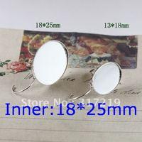 100pcs 18*25mm 925 Sterling Silver Plated Earring studs Hooks Cameo,Brass stud earrings accessories,earrings base setting Blank
