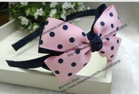 free shipping 50pcs/lots navy&navy dots bow on Navy hairband /lovey headband for Christmas mix 21 designs