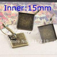 100pcs 15mm Antique Bronze Earring Square studs Hooks Cameo,Brass stud earrings accessories,earrings base setting Blank