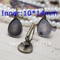 200pcs 10*14mm Antique Bronze Earring Oval studs Hooks Cameo,Brass stud earrings accessories,earrings base setting Blank