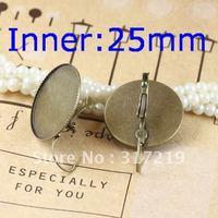 100pcs Inner:25mm Antique Bronze Earring Round studs Hooks Cameo,Brass stud earrings accessories,earrings base setting Blank