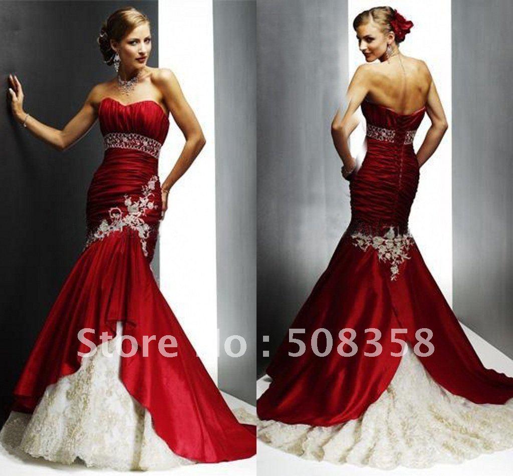 New sweetheart red white mermaid court wedding dress