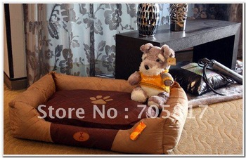 New Large Pet House Super  Warm Dog / Cat Bed Checkerboard cloth Removable and washable -Brown-75 x57 x20 cm