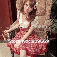 7108B Free shipping hot sale pink/red polka dot dress best club women dress form online new 2014