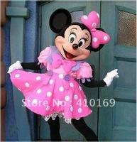 Hot Sales Party Dress Version Minnie Mascot Costume Pink Minnie Mouse Mascot Costume Free Shipping