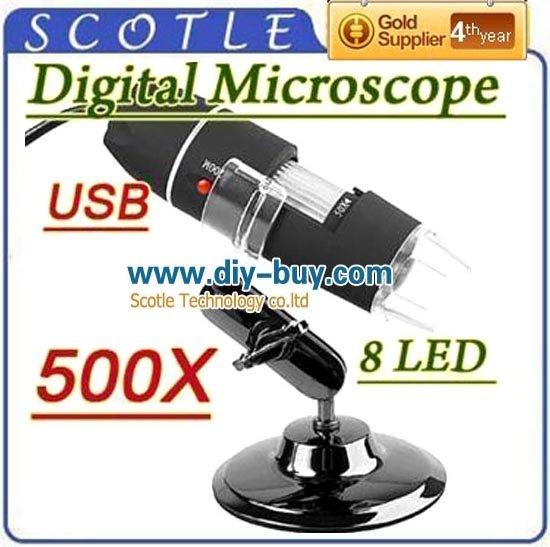 Versandkostenfrei 10pcs/lot 130 pixel 500x digital usb zoom-mikroskop 2.0mp 8-led endoskop