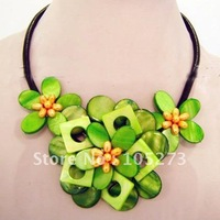 Charming! Yellow Green Natural Sea Shell + Genuine Freshwater Pearl Flower Necklace 18'inchs Wholesale New Free Shipping FN2048
