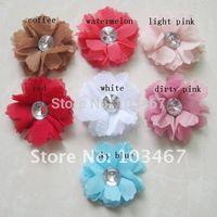 """24pcs/lot Wholesale 2"""" Mini Chiffon Flowers Now Arrival Nice Cheap Cloth Flower Mix Colors"""