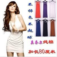 2012 spring long design slim hip tank candy color modal 100% cotton basic shirt